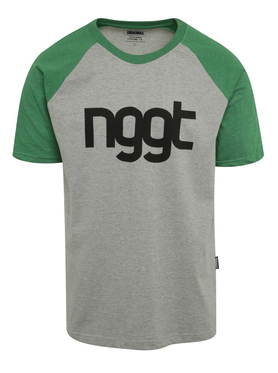 Zeleno-šedé pánské triko s potiskem NUGGET Asset