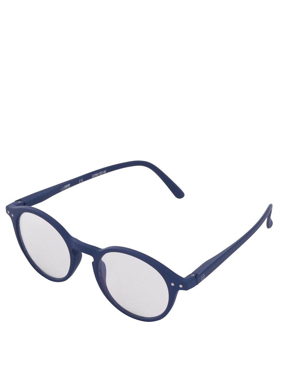 Modré unisex ochranné brýle k PC kulatého tvaru IZIPIZI #D