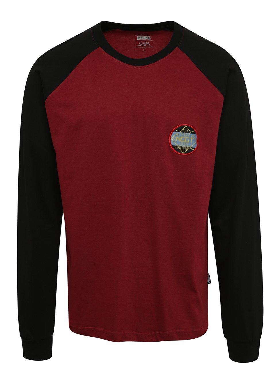 Černo-vínové pánské triko s nášivkou a dlouhým rukávem NUGGET Module