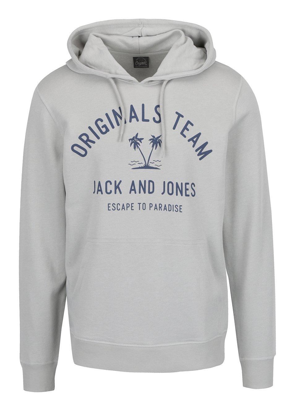 Šedá mikina s kapucí a potiskem Jack & Jones Tropical