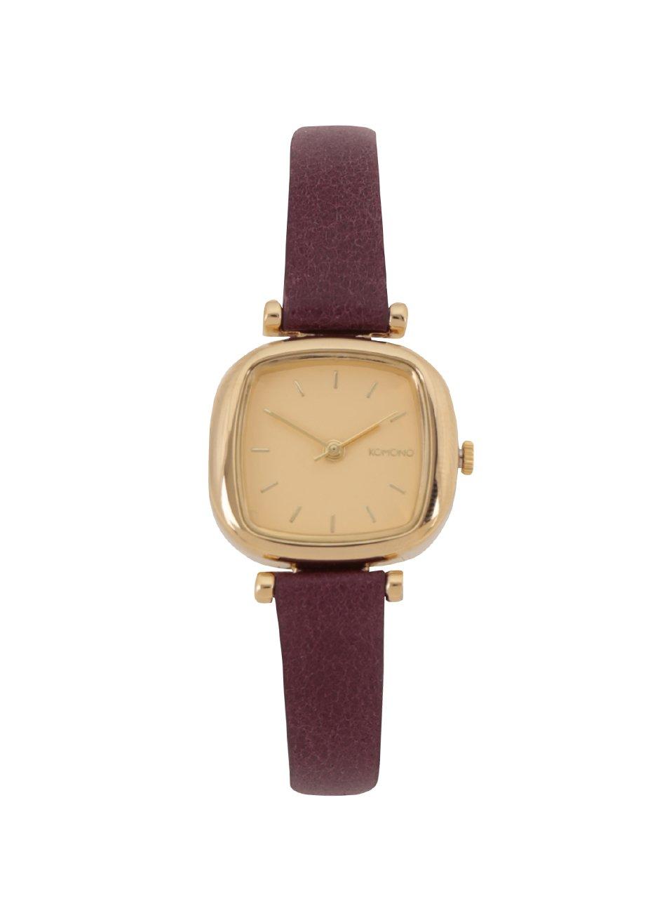 Dámské hodinky ve zlaté barvě s vínovým koženým páskem Komono Moneypenny