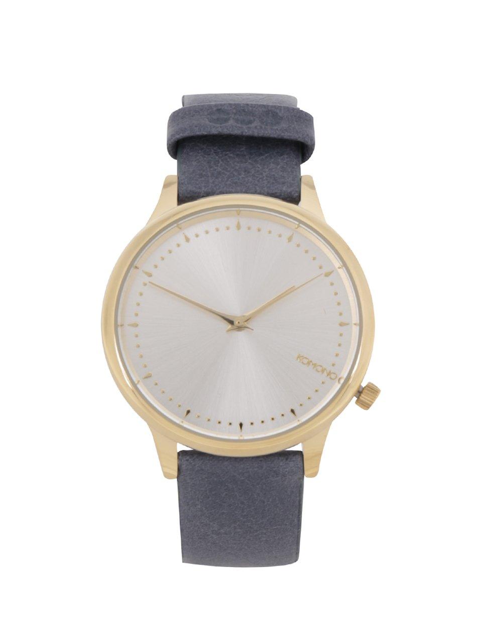 Dámské hodinky ve zlaté barvě s modrým koženým páskem Komono Estelle