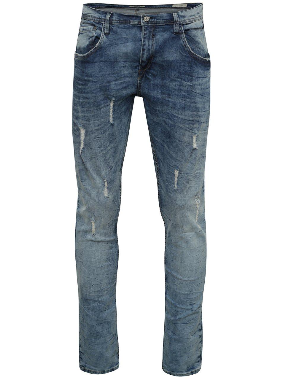 Modré žíhané skinny džíny s potrhaným efektem Blend