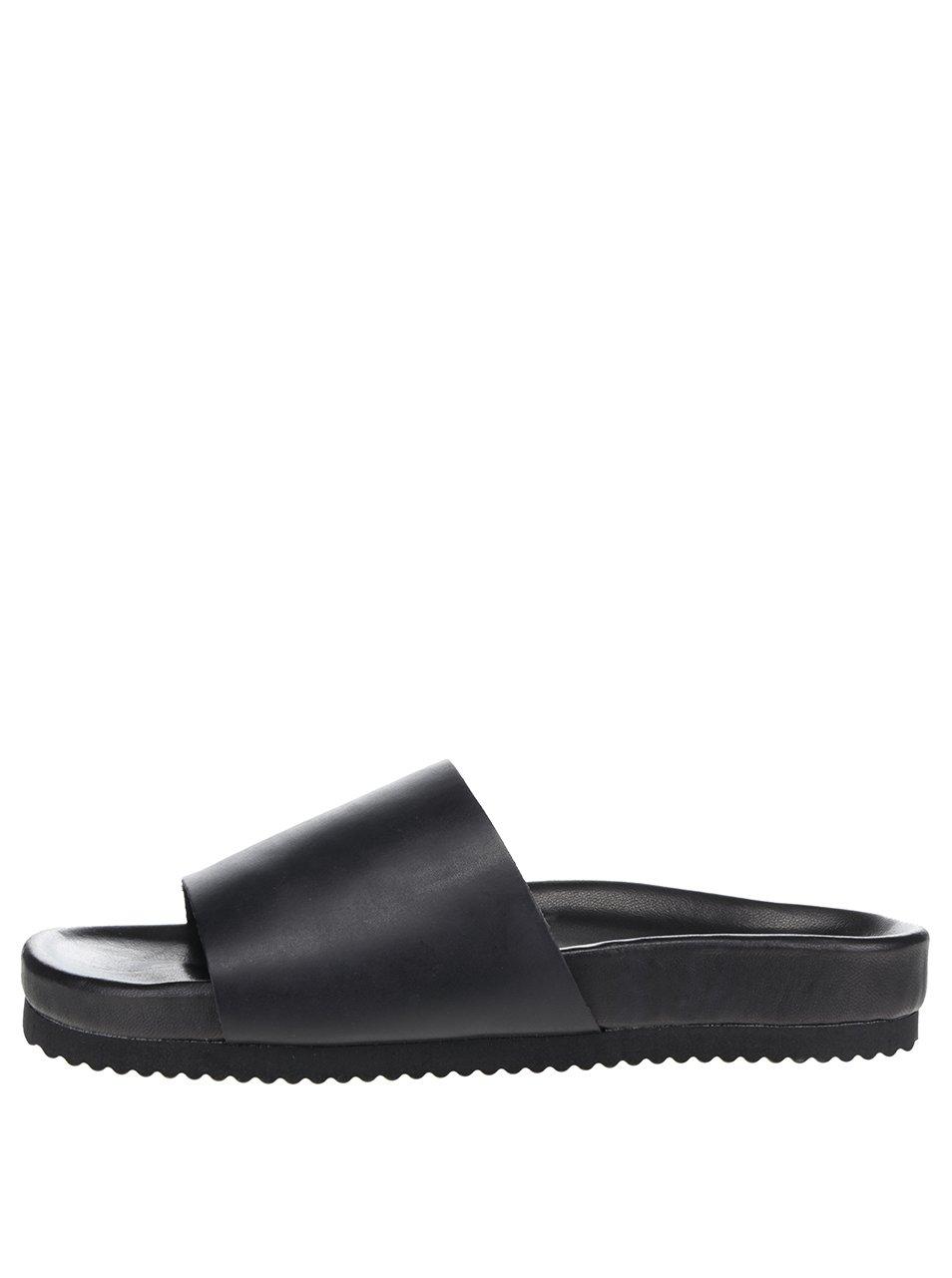 Černé kožené pantofle Selected Homme Haustin