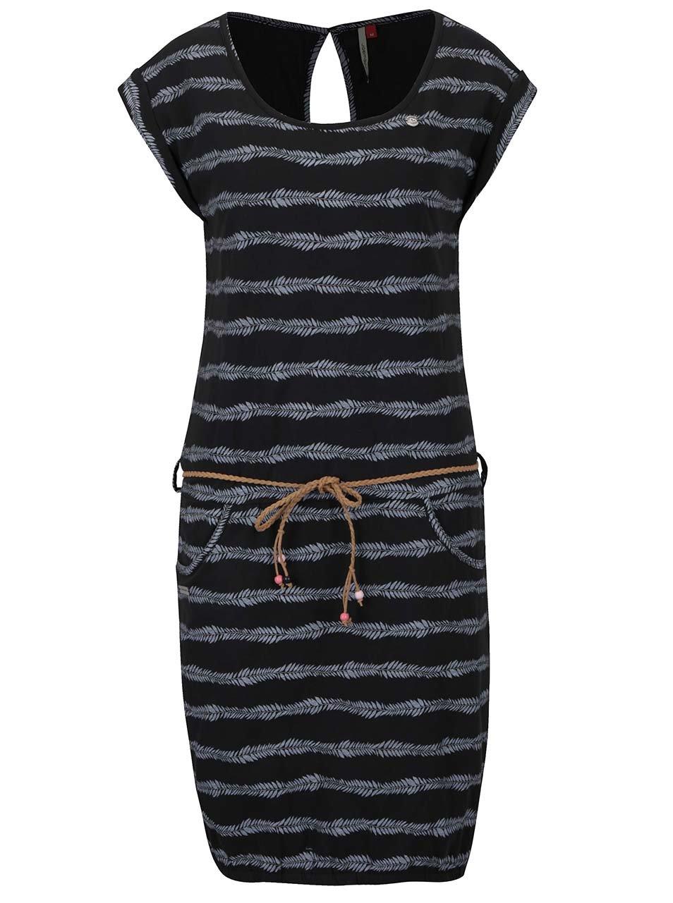 Šedo-černé pruhované šaty Ragwear Montana