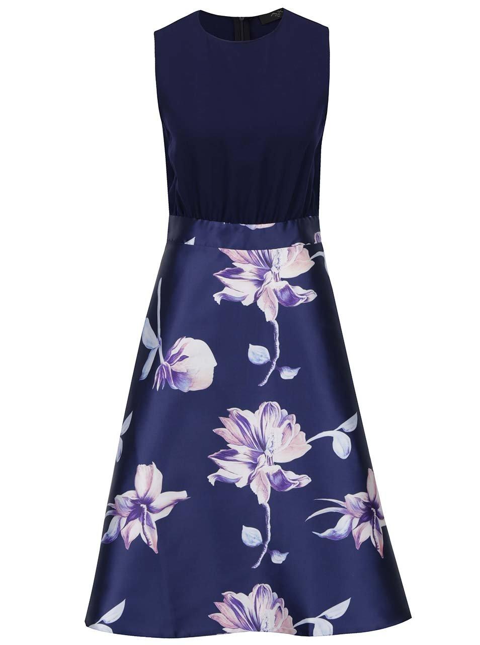 Tmavě modré midi šaty s květovanou sukní AX Paris