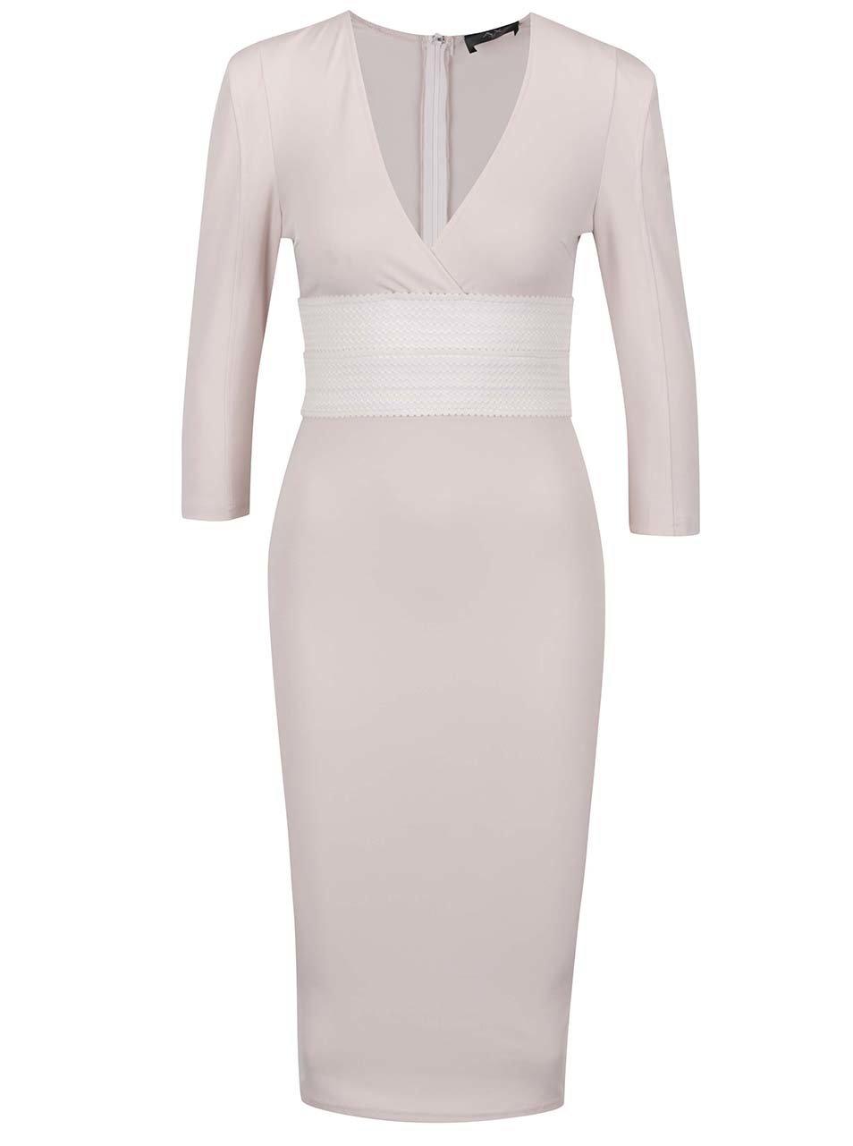 Béžové úzké šaty s véčkovým výstřihem AX Paris