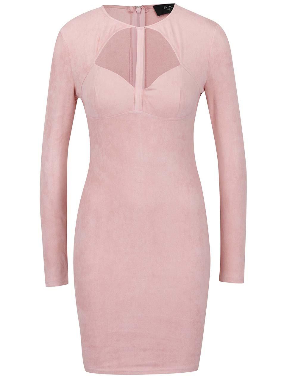 a5ef0923aa5e Svetloružové šaty v semišovej úprave AX Paris