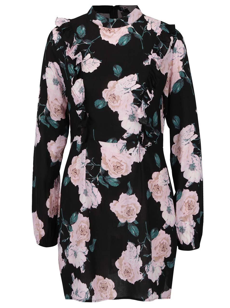 Černé květované šaty s dlouhým rukávem AX Paris