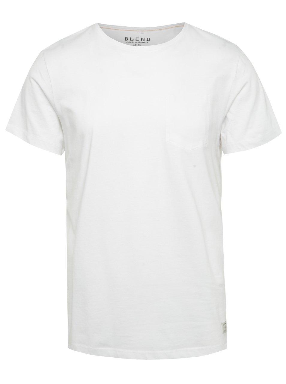 Bílé regular fit triko s imitací náprsní kapsy Blend