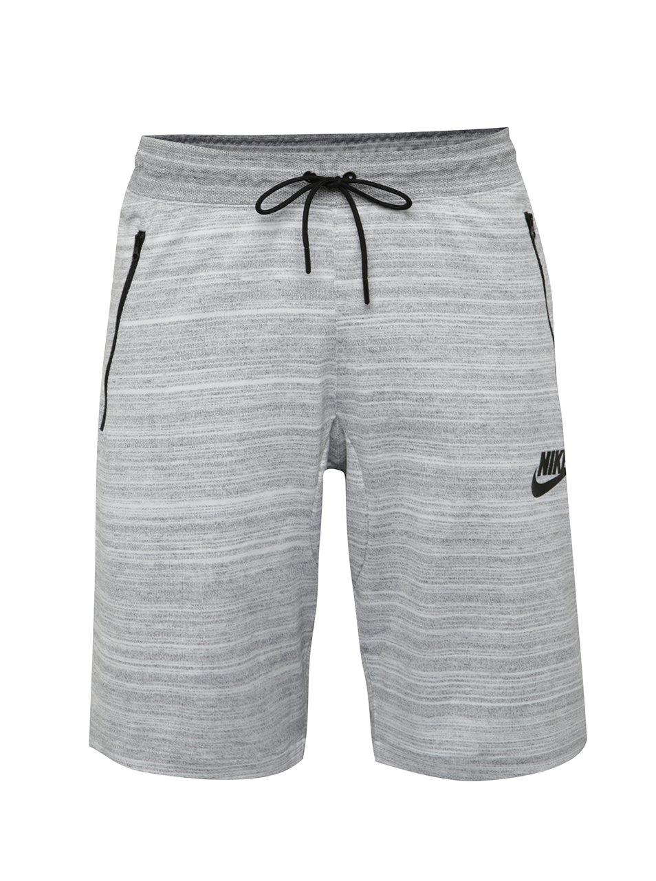 Světle šedé žíhané pánské slim fit teplákové kraťasy Nike Sportwear Advance 15