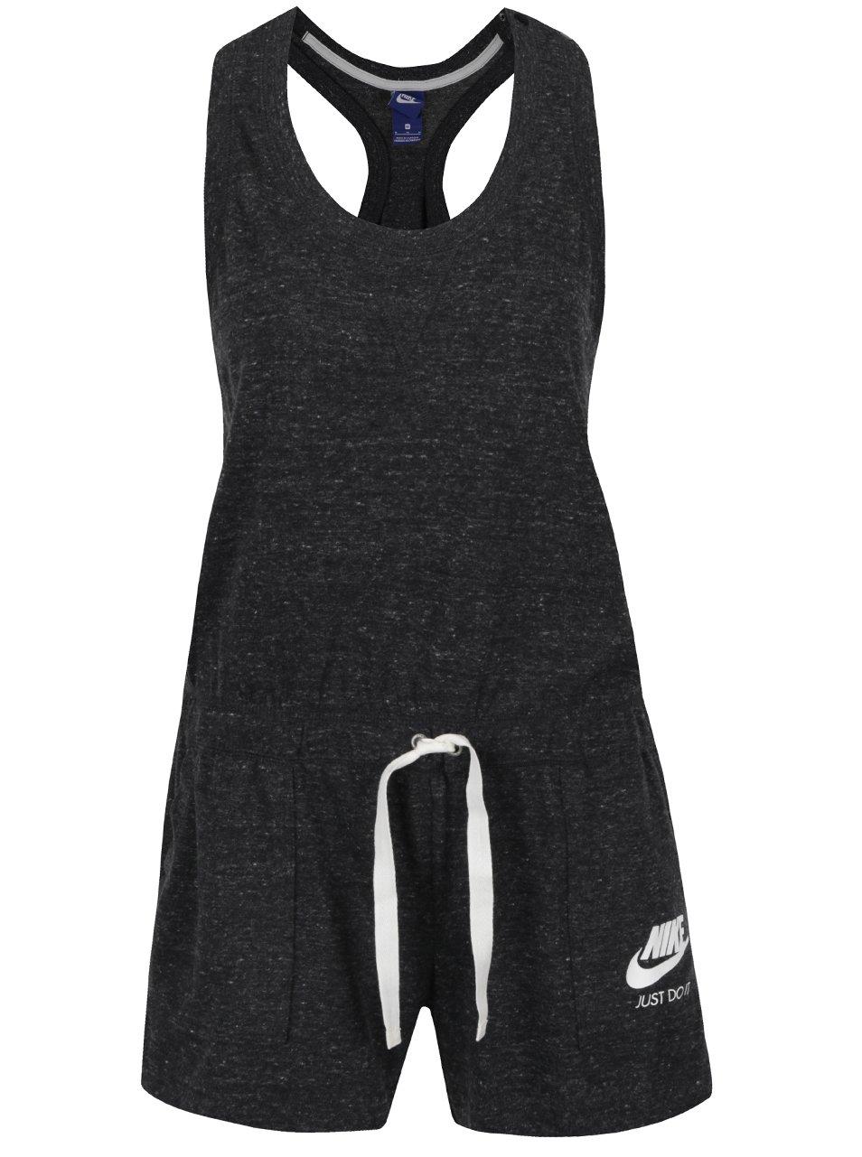 Černý dámský krátký žíhaný overal Nike