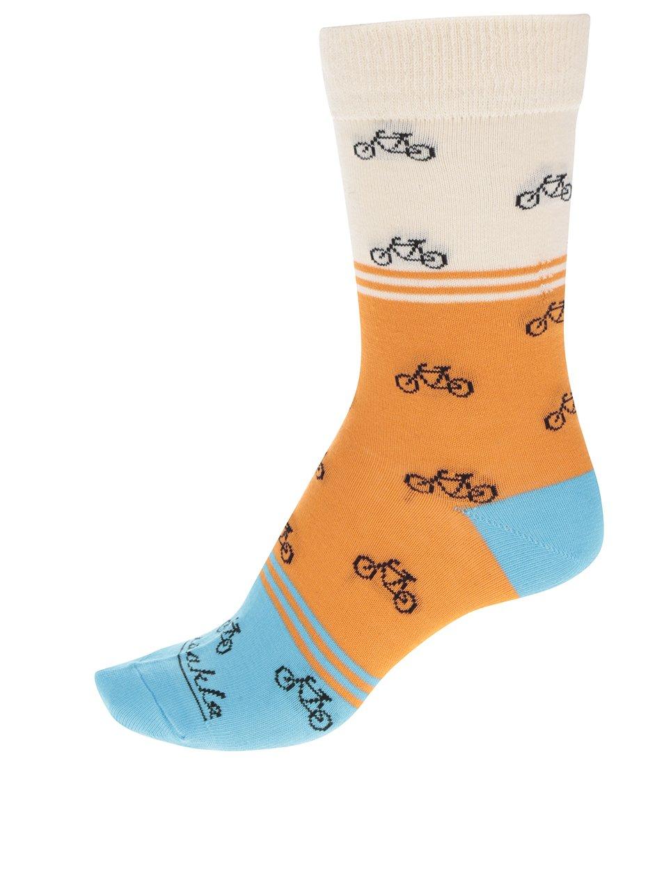 Oranžovo-modré dámské ponožky s motivem kol Fusakle Cyklista veselý