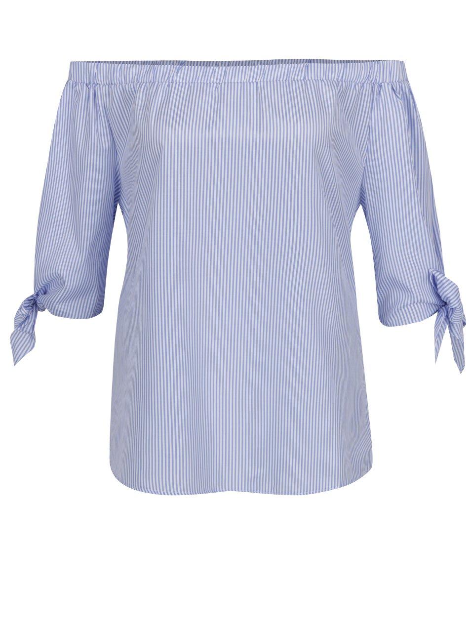 Modrá pruhovaná halenka s odhalenými rameny Haily´s Rinary