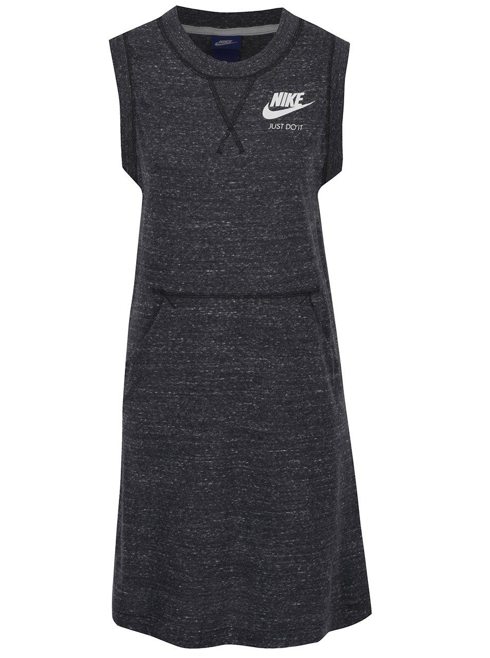 Černé dámské žíhané sportovní šaty bez rukávů Nike
