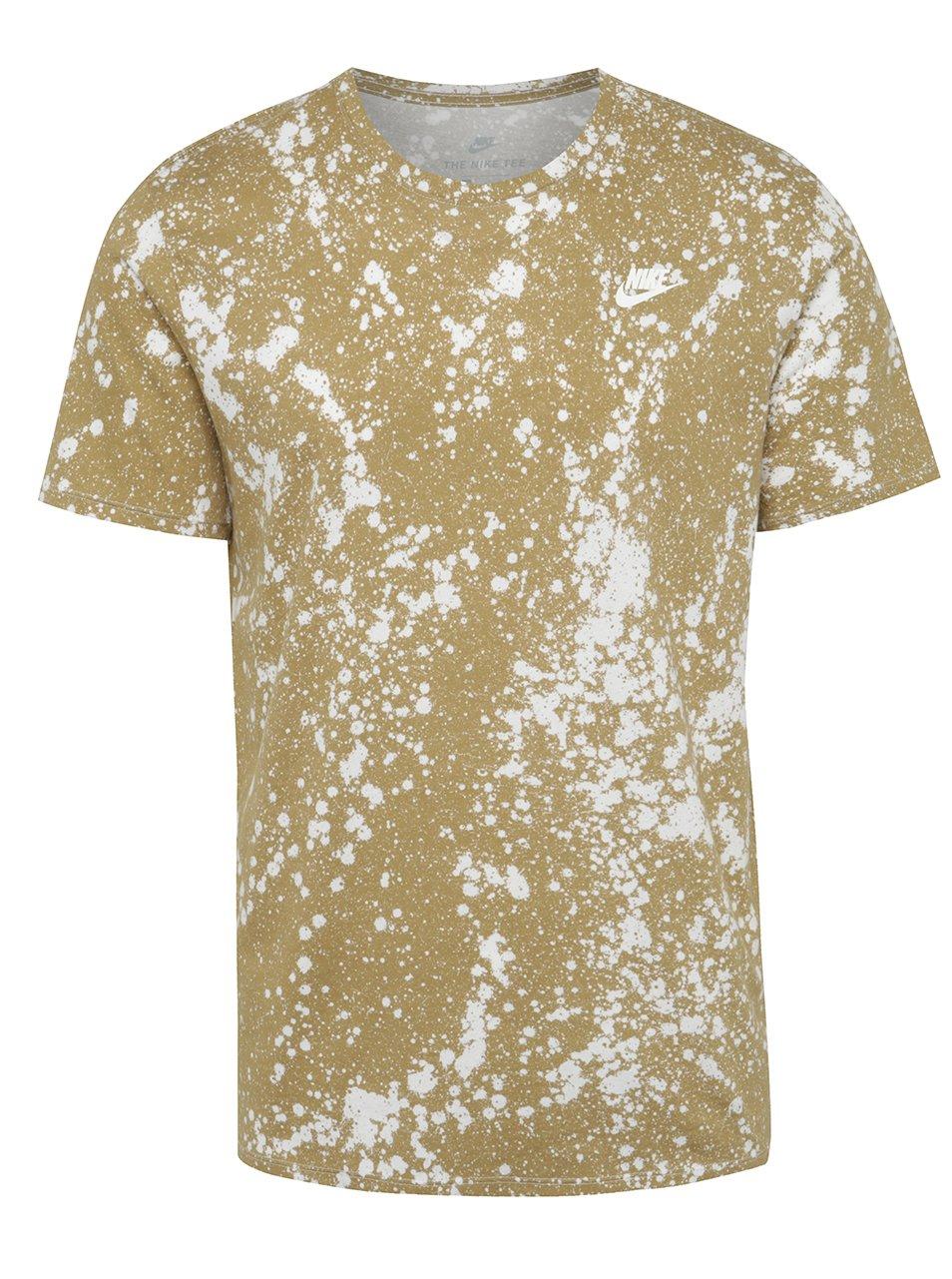 Béžové vzorované pánské triko Nike Sportwear Tee