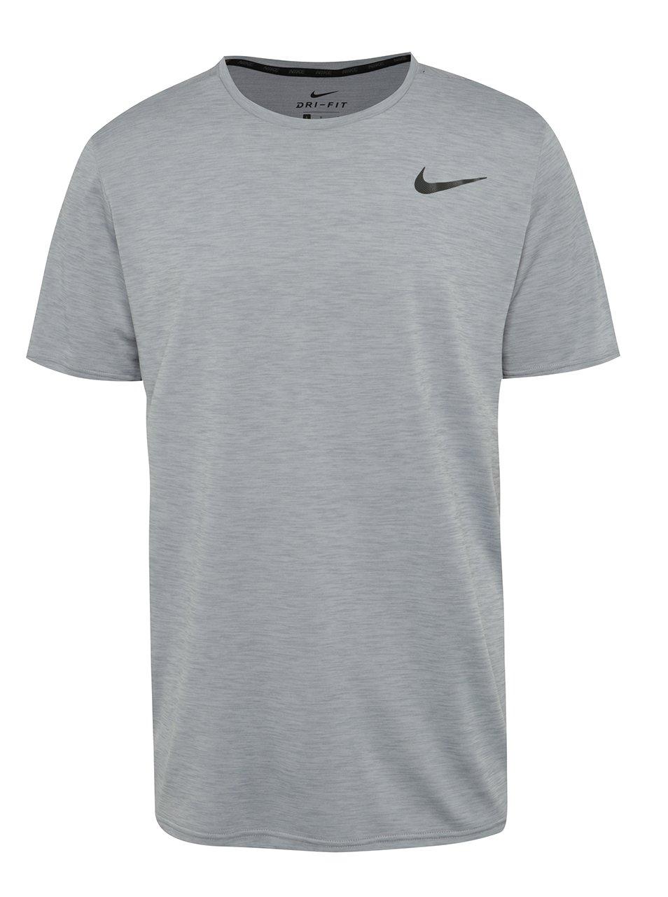 Světle šedé žíhané pánské funkční triko Nike Breathe