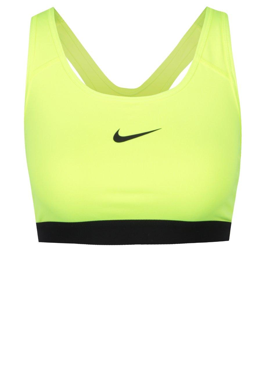 Žlutá neonová dámská sportovní podprsenka Nike Pro Classic