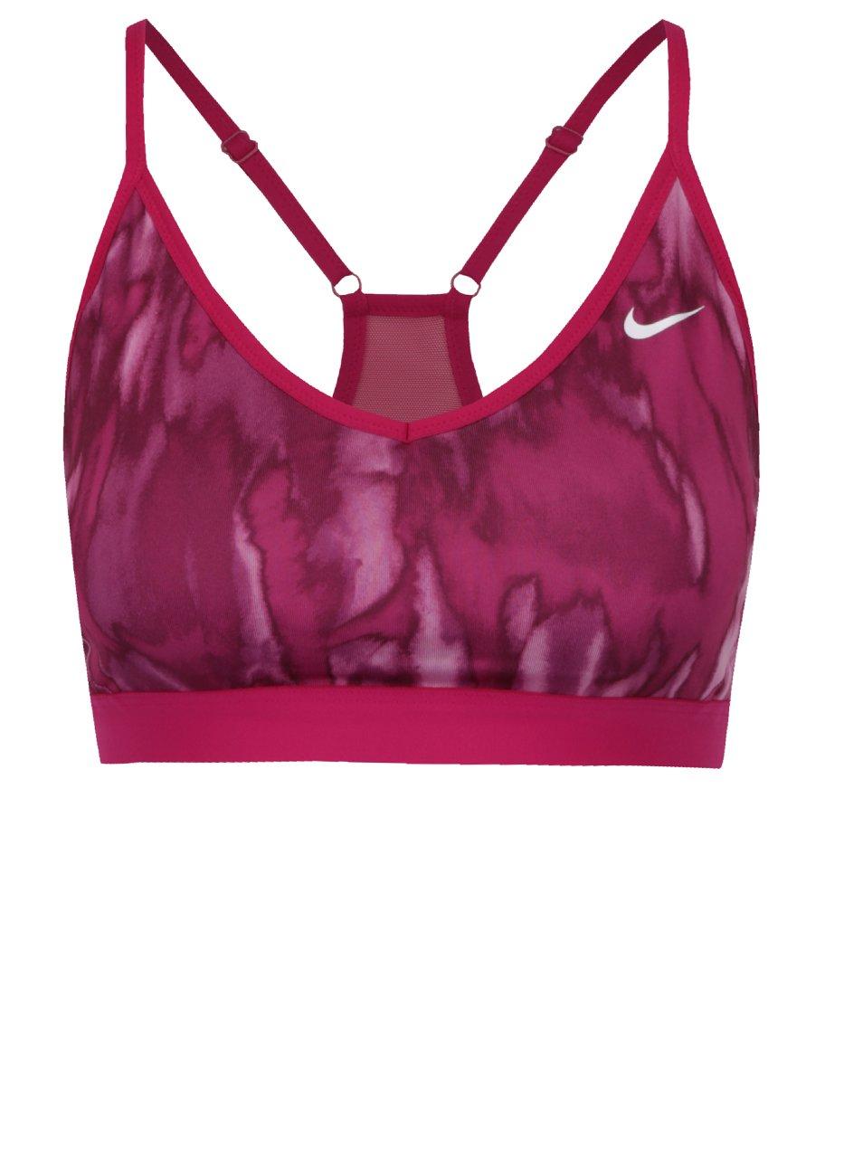 Růžová vzorovaná dámská sportovní podprsenka Nike Pro Indy