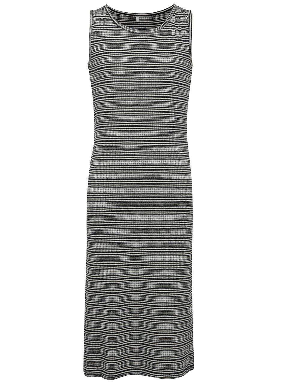 Bílo-černé holčičí pruhované dlouhé šaty name it Jisola