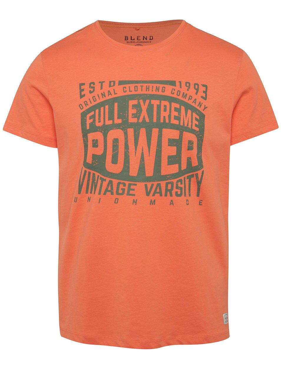 Oranžové triko s krátkým rukávem a potiskem Blend