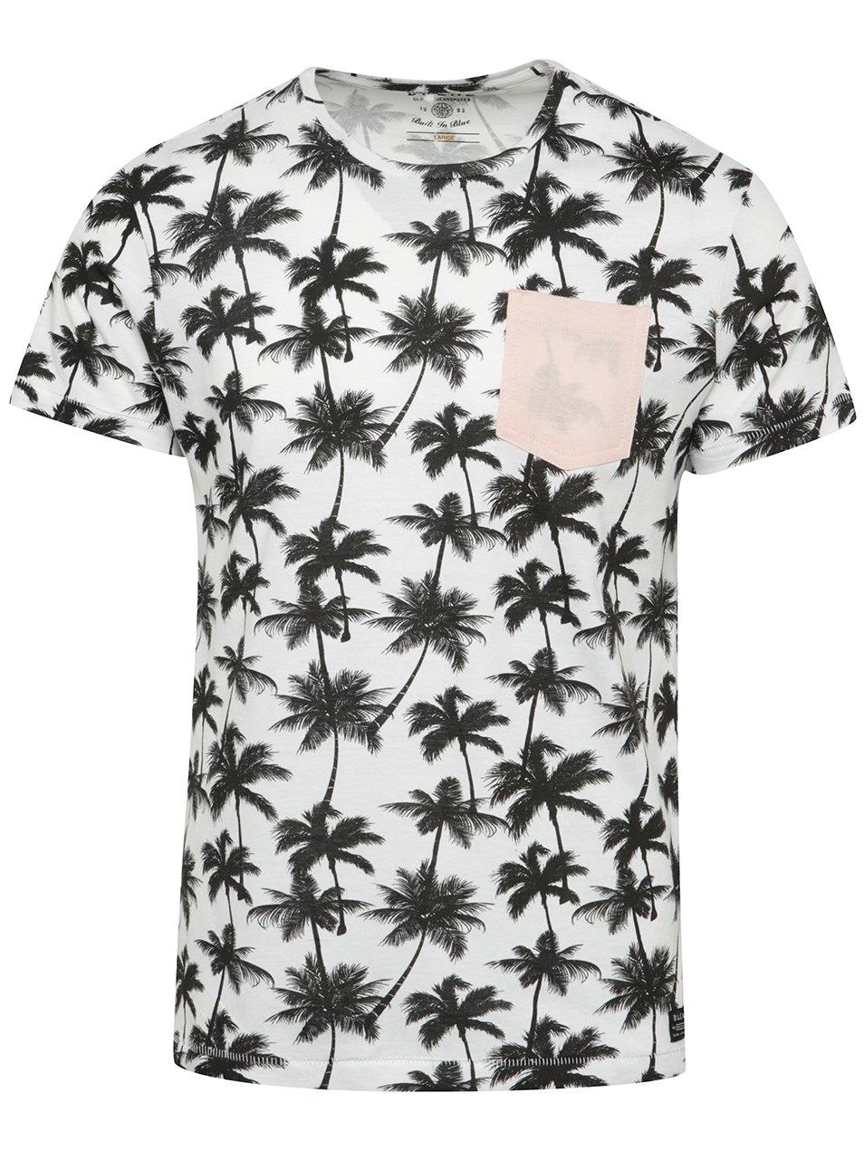 Bílé vzorované triko s kapsou Blend