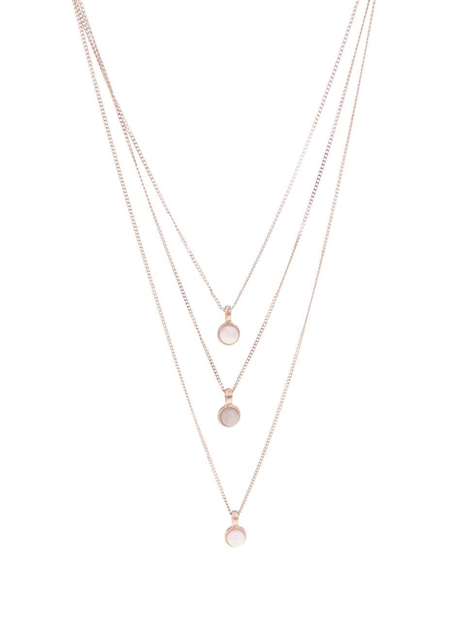 Pozlacený náhrdelník v růžovozlaté barvě s třemi přívěsky Pilgrim