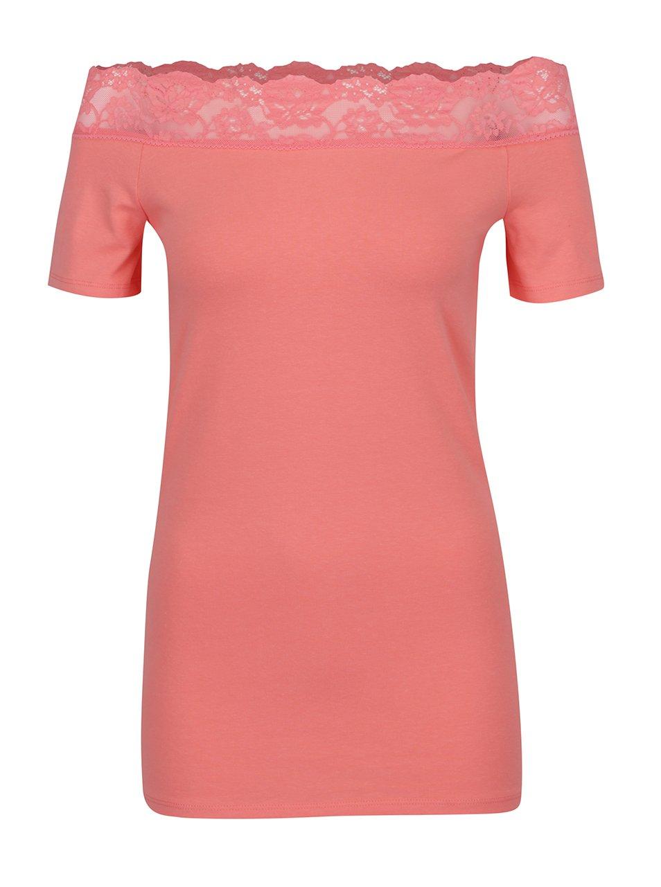Korálové tričko s odhalenými rameny a krajkovým lemem Dorothy Perkins Tall
