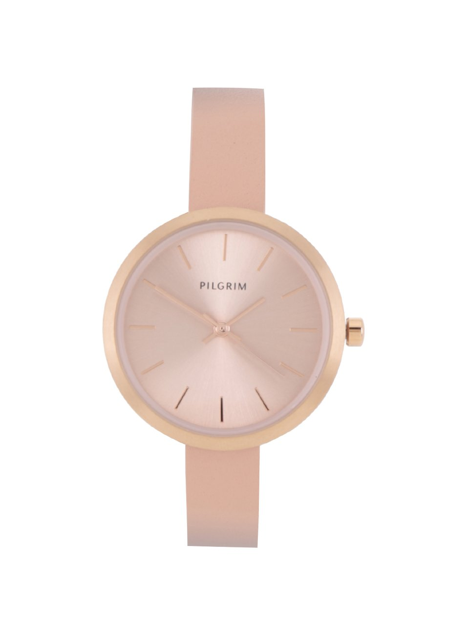 Dámské pozlacené hodinky v růžovozlaté barvě s koženým páskem Pilgrim