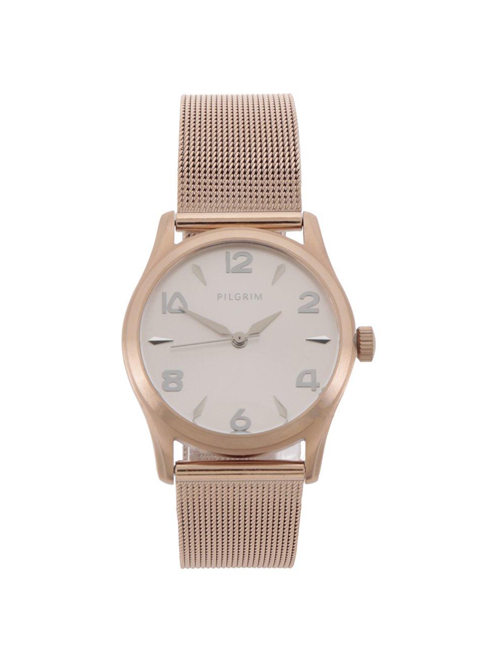64ec3bcbb Dámske pozlátené hodinky v ružovozlatej farbe s remienkom z nehrdzavejúcej  ocele Pilgrim