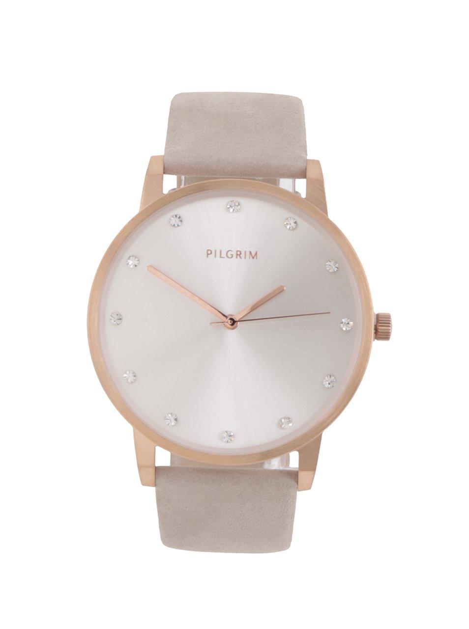 Dámské hodinky v růžovozlaté barvě se semišovým páskem PILGRIM
