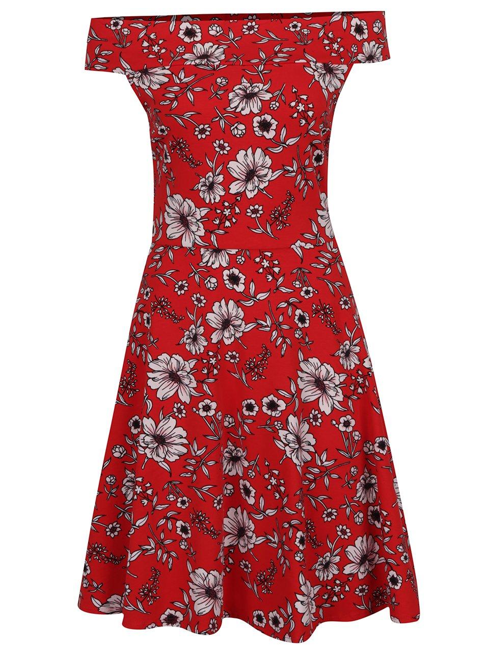 Červené květované šaty s odhalenými rameny Dorothy Perkins Tall