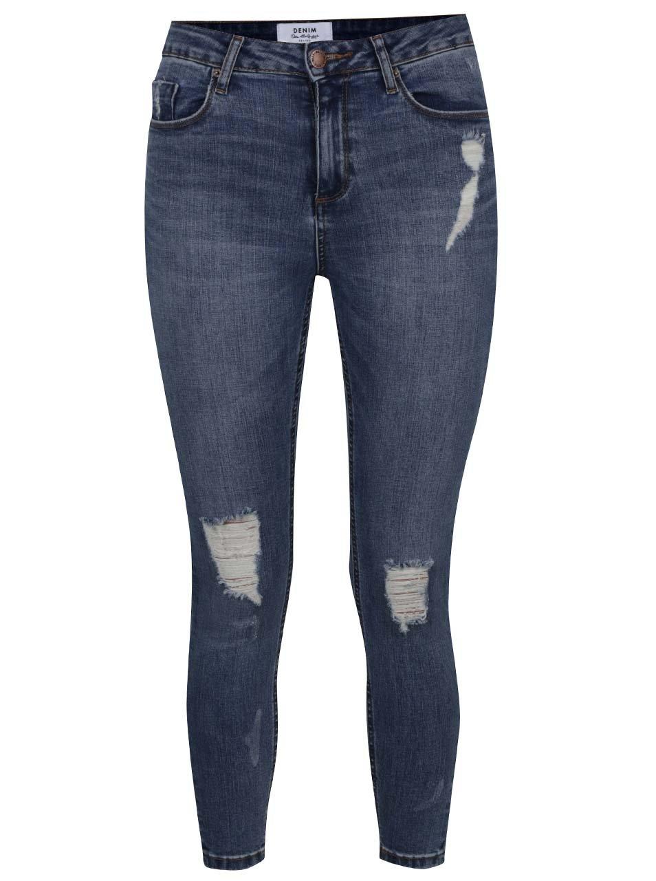 Tmavě modré strečové džíny s potrhaným efektem Miss Selfridge
