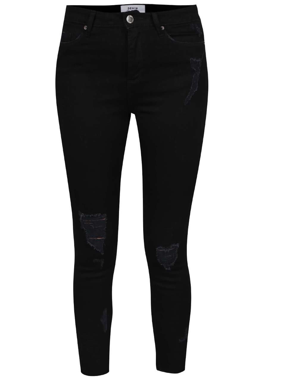 Černé strečové džíny s potrhaným efektem Miss Selfridge