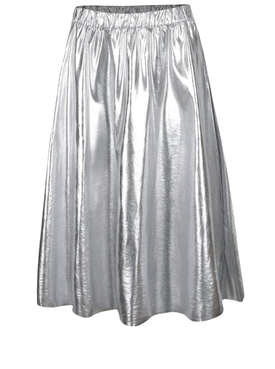 Metalická midi sukně ve stříbrné barvě VILA Hellen