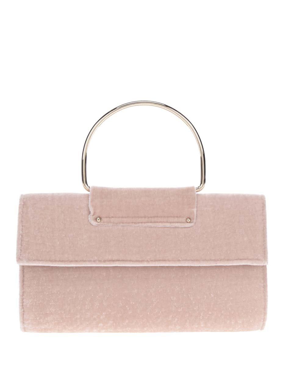 Světle růžová kabelka/psaníčko v semišové úpravě Miss Selfridge