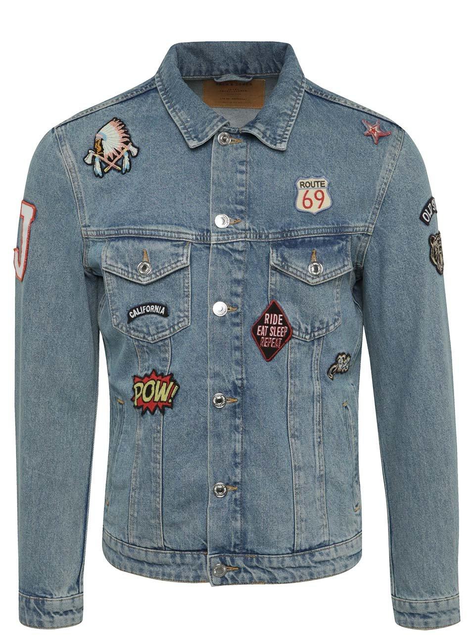 Modrá džínová bunda s nášivkami Jack & Jones Alvin