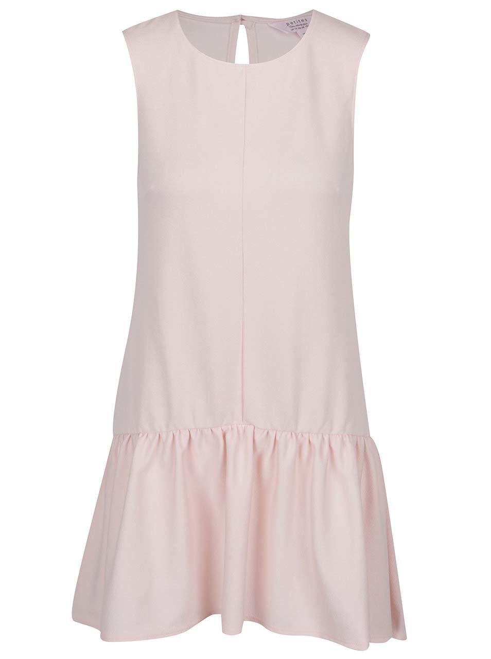 Světle růžové šaty s volánem Miss Selfridge