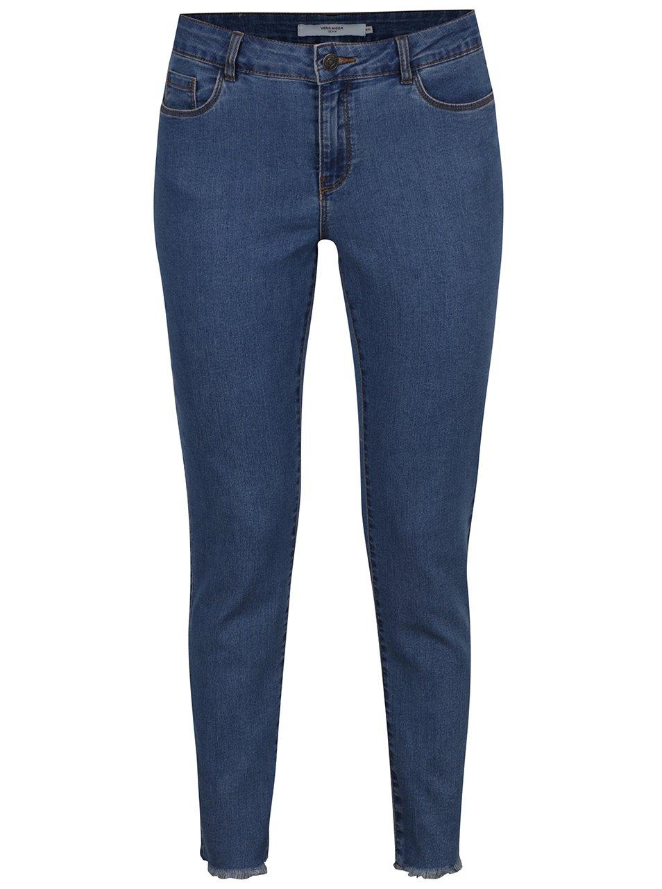 Modré slim džíny s roztřepenými lemy VERO MODA Seven