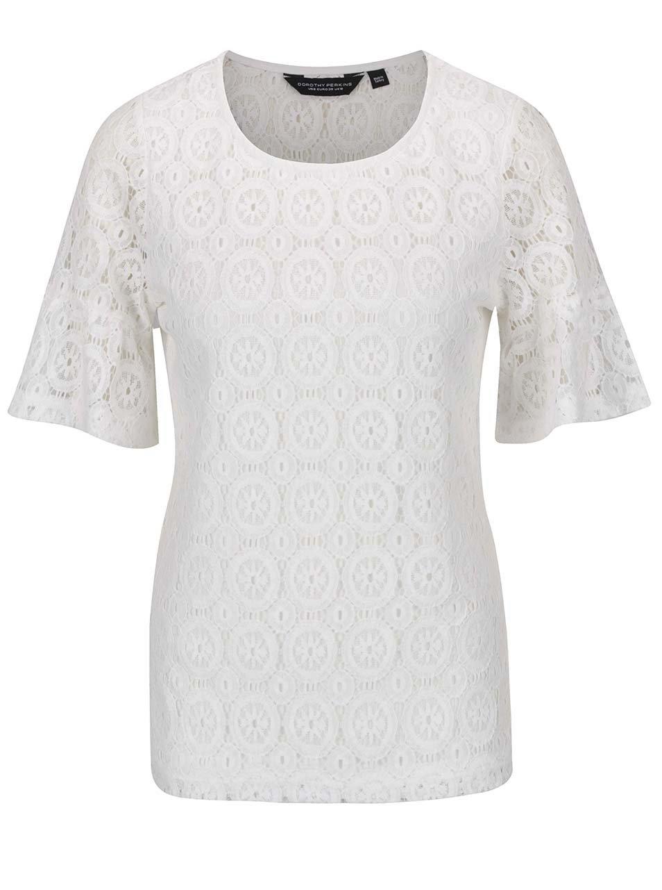 Bílá krajková halenka s průsvitnými rukávy Dorothy Perkins