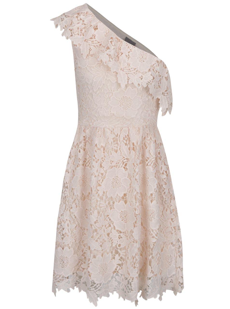 Světle růžové krajkové šaty přes jedno rameno VERO MODA Thus