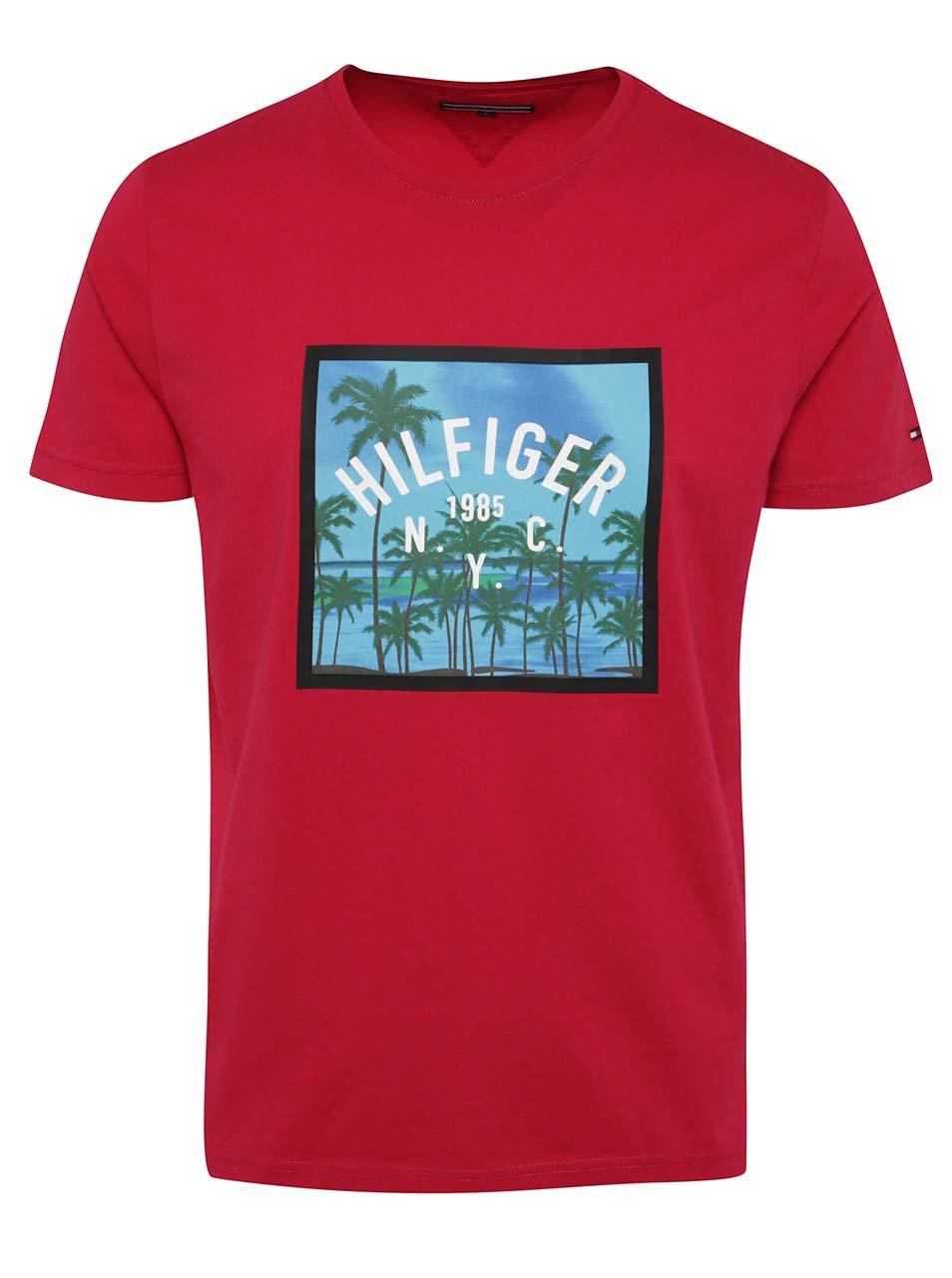 Tmavě růžové pánské triko s potiskem Tommy Hilfiger