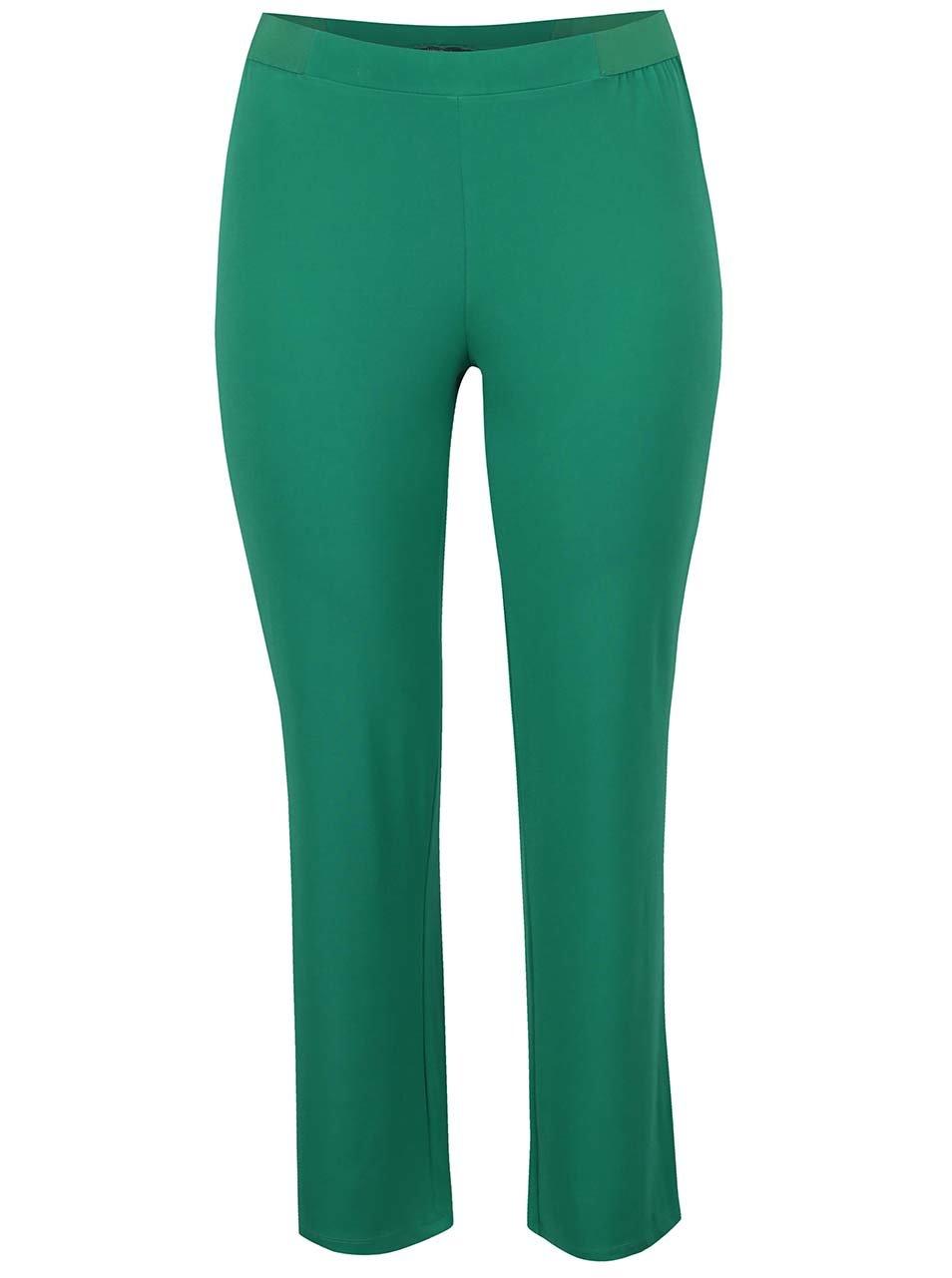 Zelené elastické kalhoty s pružným pasem Ulla Popken