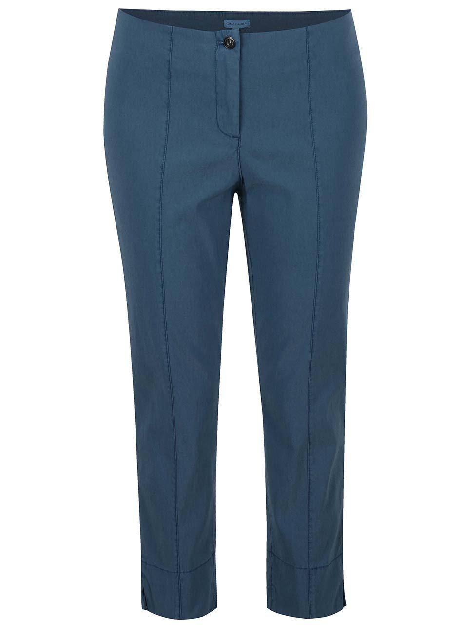 Petrolejové zkrácené slim fit kalhoty Gina Laura