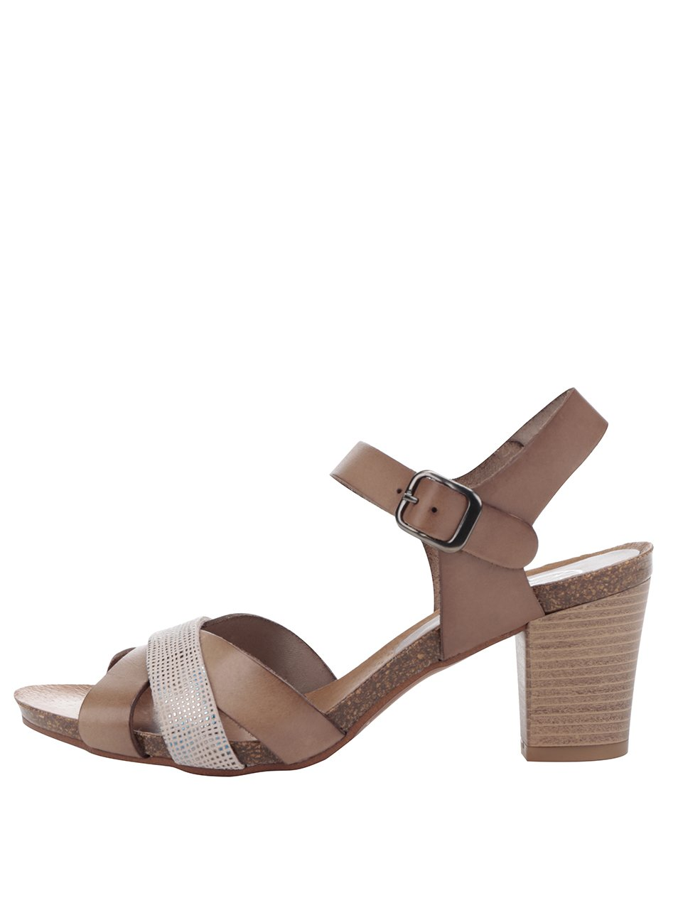 Hnědé kožené sandálky na nízkém podpatku OJJU