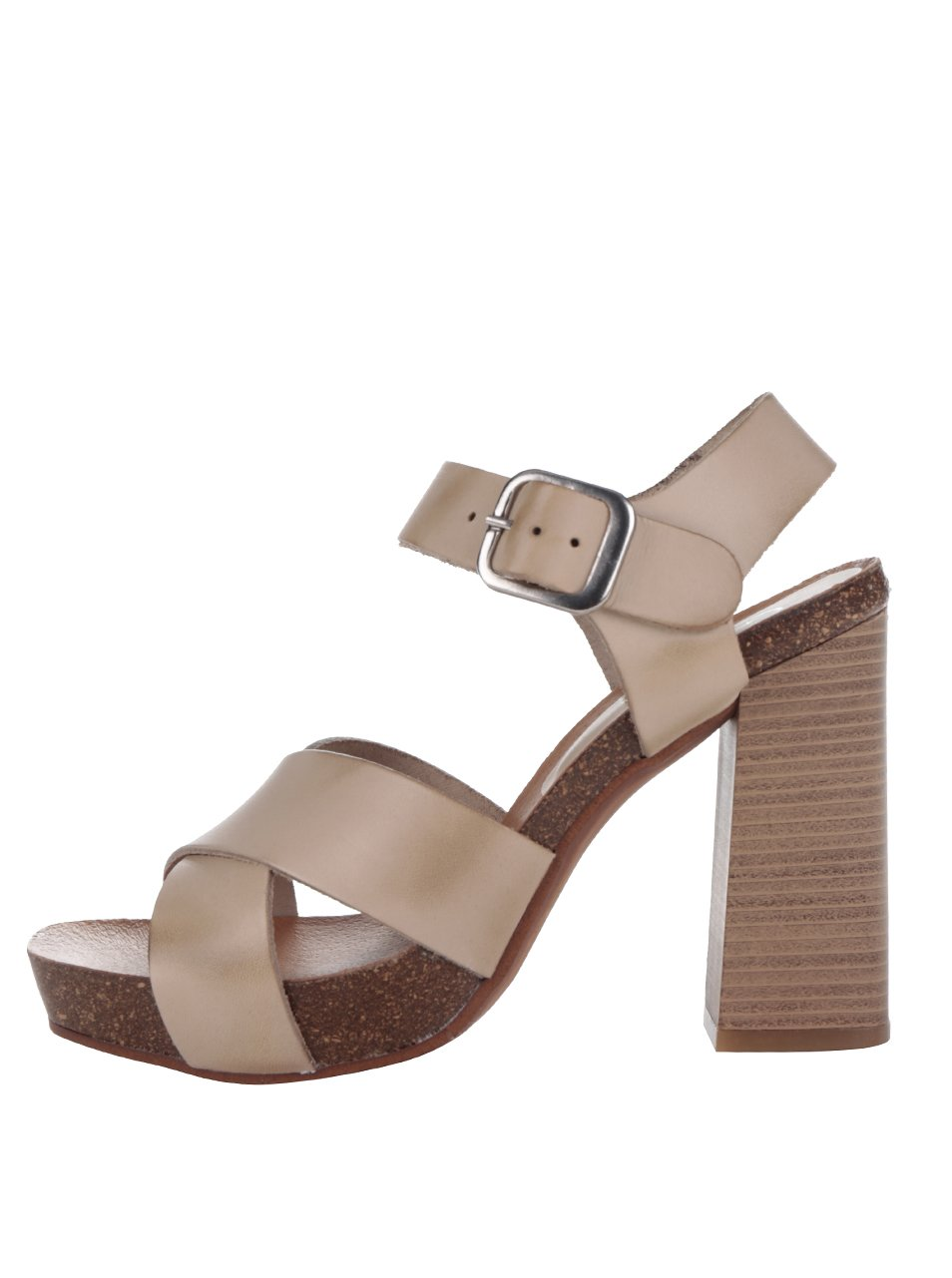 Béžové kožené sandálky na vysokém podpatku OJJU