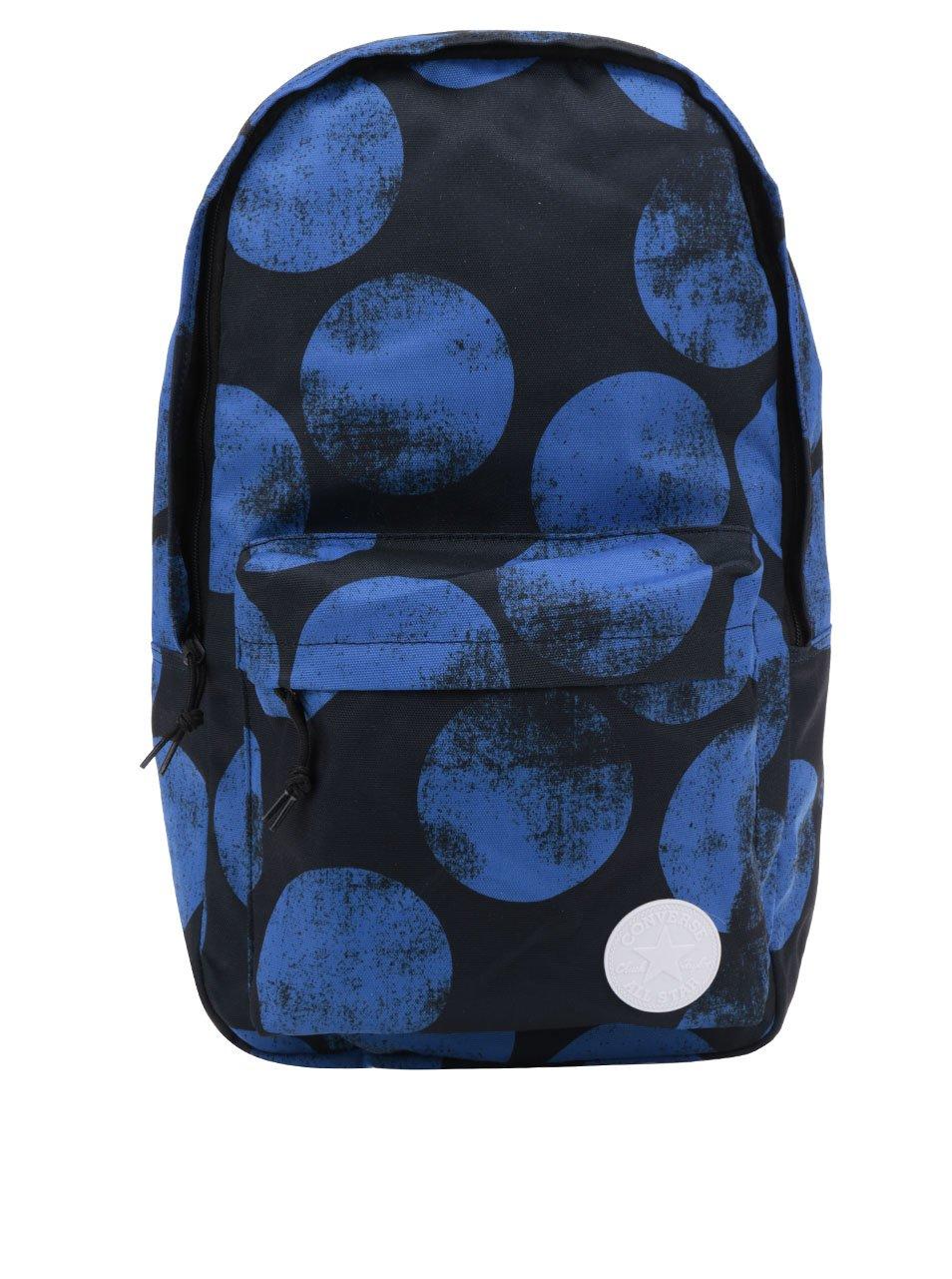 Černý unisex batoh s modrými puntíky Converse