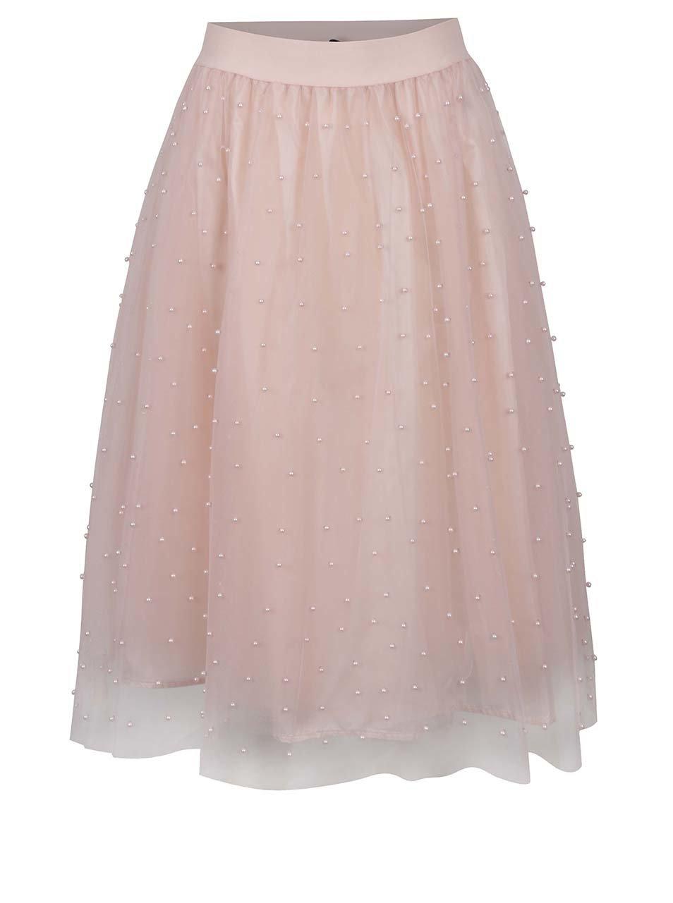 Růžová midi sukně s korálkovou aplikací Little Mistress