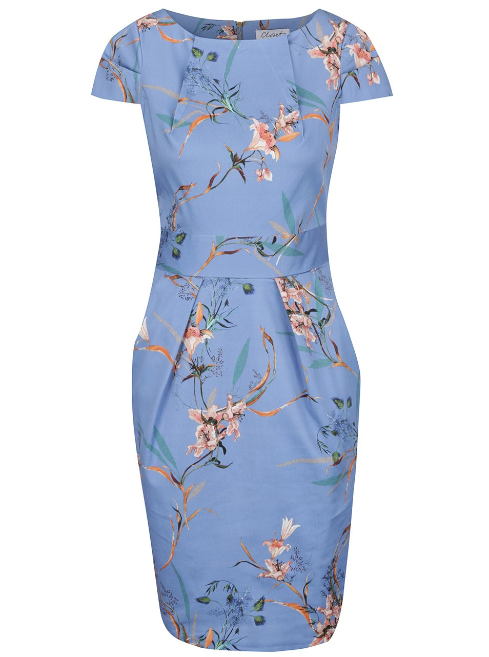 Modré květované pouzdrové šaty s mašlí Closet