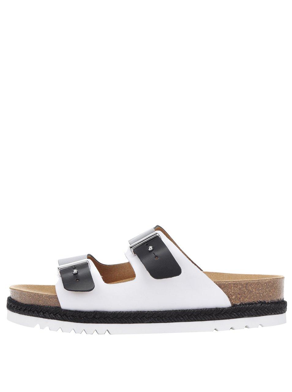 Černo-bílé dámské kožené zdravotní pantofle Scholl Olympe